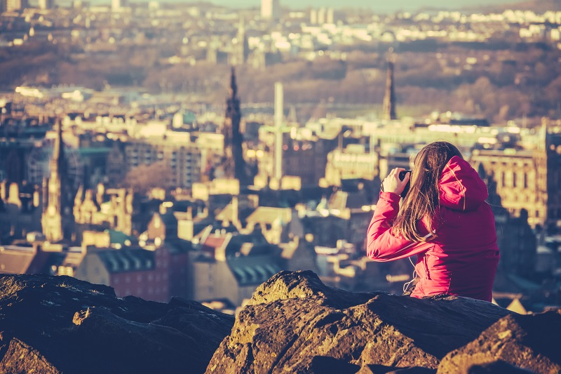 Young Woman Tourist In Scotland