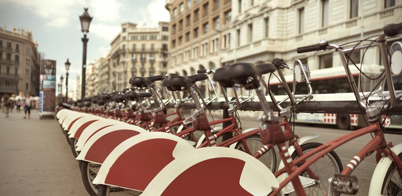 Group of bicycles in Barcelona