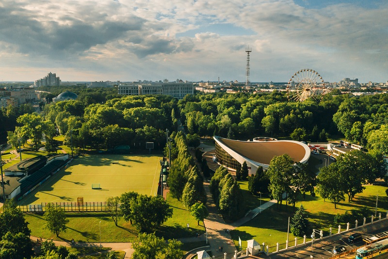 Sports ground and sports complex in the city's Gorky Park in Minsk.Soccer field and hockey complex in the city of Minsk.Belarus
