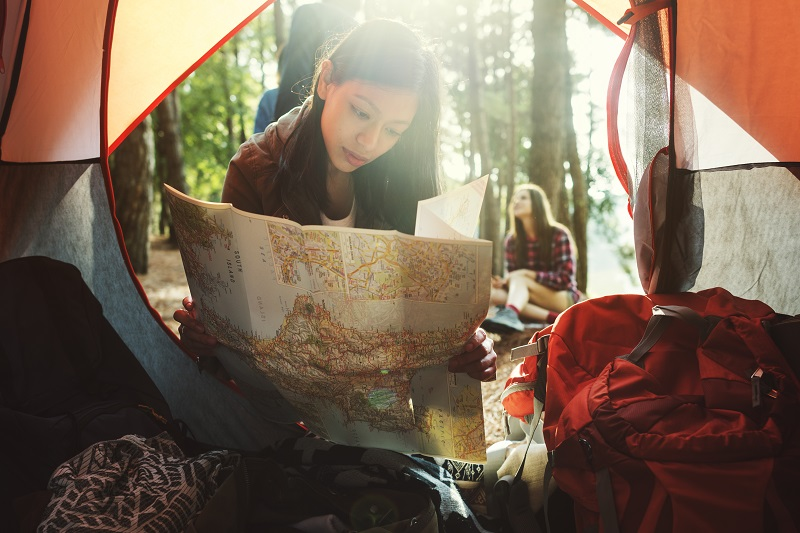 Girl Map Outdoors Travel Concept