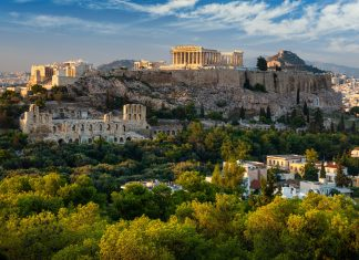 Scenic panoramic view on Acropolis in Athens, Greece at sunrise